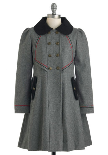 Stylish to the Chorus Coat in Grey by Dear Creatures - Grey, Red, Black, Buttons, Pockets, Long Sleeve, 4, Vintage Inspired, Winter, Long