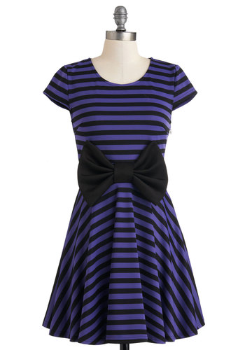 Shojo and Tell Dress - Purple, Black, Stripes, Bows, Party, A-line, Cap Sleeves, Short, Top Rated