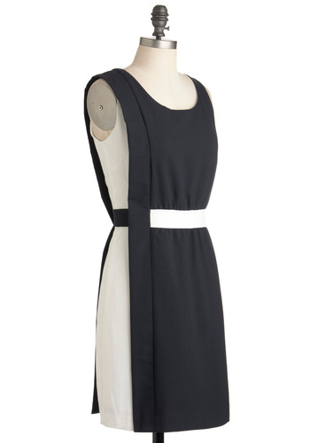 Job Well Fun Dress - Mid-length, Black, White, Colorblocking, Shift, Sleeveless, Work