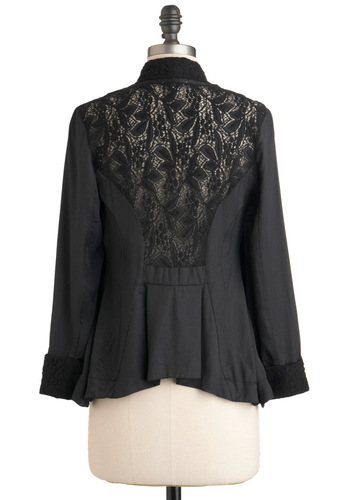 Poetry Festival Cardigan - Black, Lace, Pleats, Steampunk, 3/4 Sleeve, Winter, Mid-length