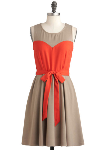 Haute Cocoa Dress - Mid-length, Tan, Orange, Cutout, Belted, Colorblocking, A-line, Sleeveless, Coral, Fit & Flare, Crew, Casual