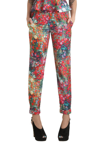 Let Down Your Garden Pants - Multi, Floral, Pockets, Quirky, Red, Mid-length