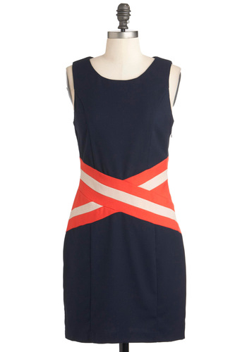 Cross the Dateline Dress - Mid-length, Blue, Orange, White, Party, Sheath / Shift, Sleeveless, 60s, Mod