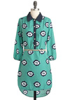 The Wait Is Over Dress - Mid-length, Green, Blue, Floral, Buttons, Belted, Casual, Shirt Dress, 3/4 Sleeve, 70s, White, Vintage Inspired, Tis the Season Sale