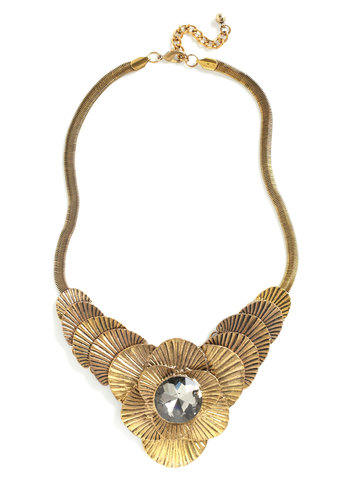 Important Nile-stone Necklace - Gold, Black, Party, Statement