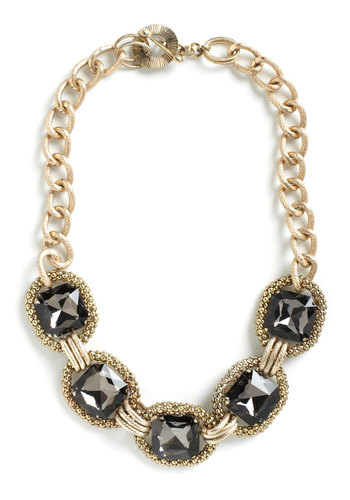 Opt for Opulence Necklace - Gold, Vintage Inspired, Grey, Cocktail, Holiday Party