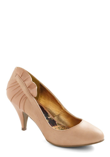 Winsome Waltz Heel by Bait Footwear - Solid, Ruffles, Party, Pink, Mid, Graduation