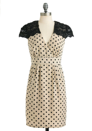 Empire In the Sky Dress by Darling - Mid-length, Cream, Black, Polka Dots, Crochet, Exposed zipper, Party, Pinup, Vintage Inspired, Shift, Cap Sleeves, Pockets