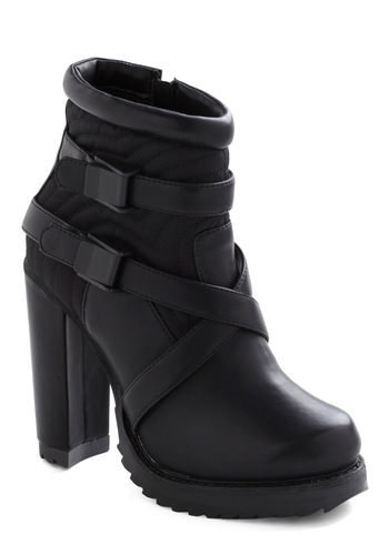 Staying Top Notch Boot - High, Faux Leather, Black, Solid, Buckles, Urban