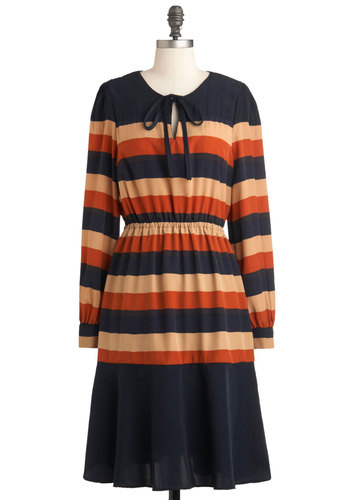 Under Oaks Dress - Long, Orange, Tan / Cream, Stripes, A-line, Long Sleeve, Fall, Blue, International Designer
