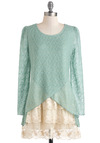 Sea Mist You Lately Sweater - Mint, Tan / Cream, Lace, Long Sleeve, Long, Green, International Designer