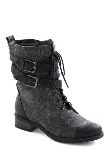 Be Buckle Soon Boot in Charcoal - Buckles, Lace Up, Low, Faux Leather, Grey, Casual, Military