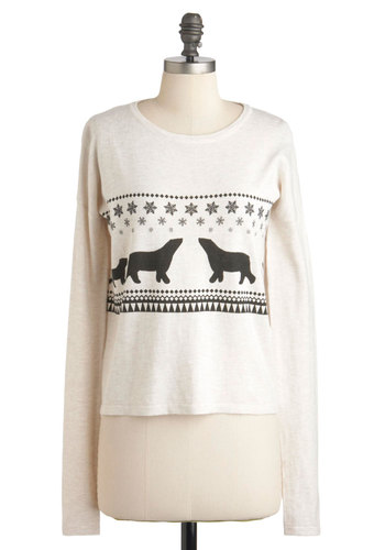 Polar Perfection Sweater - Casual, Long Sleeve, Short, Holiday, Winter, White, Black, Knitted, International Designer