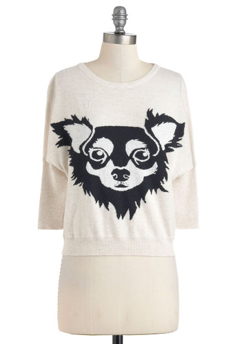 Papillon to Something Sweater - Cream, Print with Animals, Casual, 3/4 Sleeve, Short, Black, International Designer