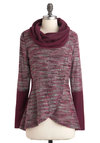 Marooned with You Sweater - Purple, Grey, Knitted, Long Sleeve, Mid-length, Casual, Cowl
