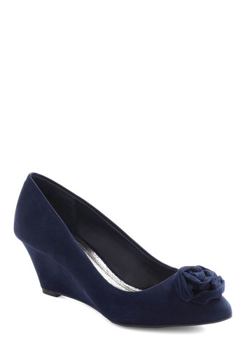 In With the Nuanced Wedge - Wedge, Blue, Solid, Flower, Party, Work, Vintage Inspired