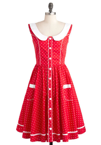 Dotted Dessert Dress - Long, Cotton, Red, White, Polka Dots, Buttons, Peter Pan Collar, Pockets, A-line, Daytime Party, Vintage Inspired, 50s, Sleeveless, Pinup
