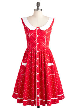 White Polka  Dress on Red White Polka Dots Dress   Modcloth Com