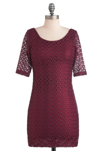 Dare to Gleam Dress - Short, Red, Solid, Backless, Party, Sheath / Shift, 3/4 Sleeve, Lace, Holiday Party, Tis the Season Sale