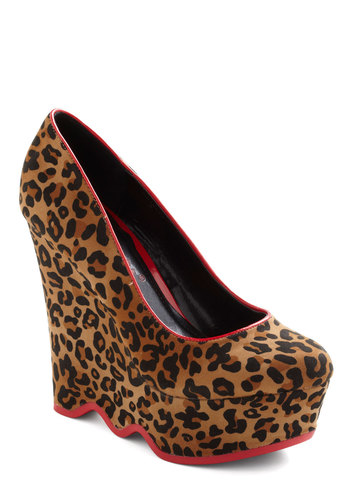 Comes in Waves Wedge - Tan, Multi, Animal Print, High, Wedge, Party, Statement, Urban, Pinup