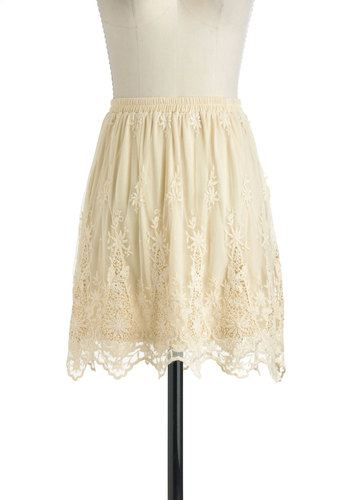 Care to Share? Skirt - Mid-length, Cream, Lace, Daytime Party, Floral, Boho, Woven