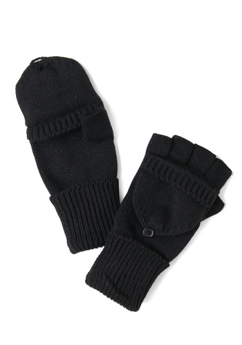Sled by Example Convertible Gloves - Black, Solid, Winter, Knitted