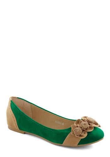 Top of the Flower Flat - Green, Tan / Cream, Flower, Flat, Casual