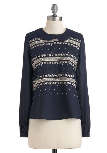 Bake My Day Top - Mid-length, Blue, White, Peter Pan Collar, Long Sleeve, Collared, Solid, Embroidery, Casual