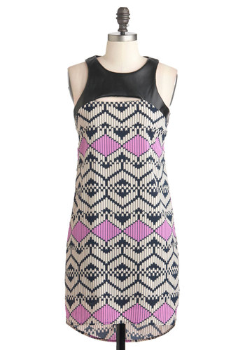 Tile Never Forget Dress - Print, Cutout, Shift, Sleeveless, Mid-length, Multi, Party, Vintage Inspired