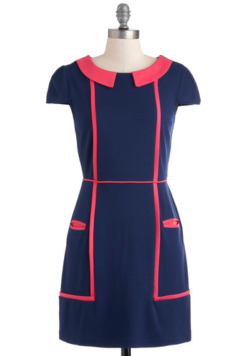 Go-Go About Your Day Dress - Blue, Pink, Pockets, Work, Shift, Cap Sleeves, Mid-length, 60s, Trim, Vintage Inspired, Mod