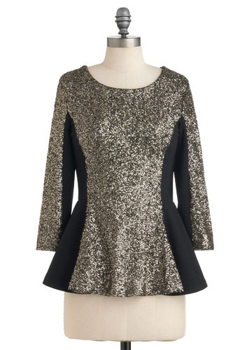 Styles Align Top - Black, Gold, Sequins, Party, Peplum, 3/4 Sleeve, Mid-length, Formal, Holiday Party