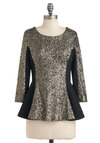 Styles Align Top - Black, Gold, Sequins, Party, Peplum, 3/4 Sleeve, Mid-length, Special Occasion, Holiday Party