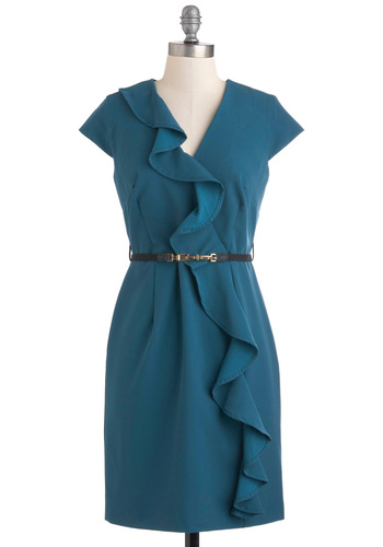 Social Media Mixer Dress - Solid, Ruffles, Work, Sheath / Shift, Cap Sleeves, Mid-length, Belted, Blue