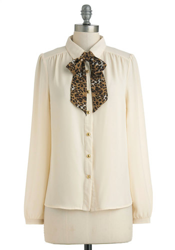 The Missing Lynx Top - Sheer, Mid-length, Cream, Brown, Tan / Cream, Black, Animal Print, Bows, Tie Neck, Long Sleeve, Work, Scholastic/Collegiate, Collared