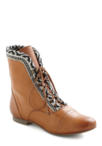 House to Home Boot - Flat, Leather, Tan, Multi, Print, Lace Up, Casual, Rustic