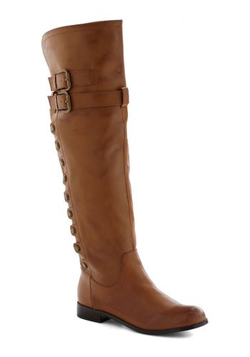 Right of Way Boot - Leather, Tan, Buckles, Studs, Flat, Casual, Boho, Rustic, Over the Knee