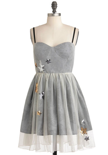 Your Lucky Stars Dress - Short, Grey, Sequins, Prom, Ballerina / Tutu, Spaghetti Straps