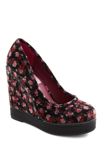 Bouquet Soiree Wedge - Wedge, Black, Pink, Floral, High, Platform, Red