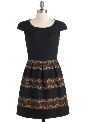 Caramel Squares Dress by Darling - Mid-length, Black, Tan / Cream, Lace, Cocktail, Film Noir, A-line, Cap Sleeves