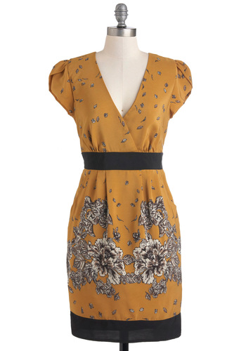 Windy Day Date Dress by Darling - Mid-length, Yellow, Black, Floral, Pockets, Shift, Cap Sleeves, White, Daytime Party