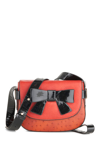 Tied to You Bag by Melie Bianco - Faux Leather, Orange, Black, Bows, Girls Night Out