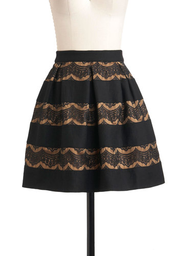 Caramel Squares Skirt by Darling - Short, Black, Tan / Cream, Lace, Party, Cocktail, Holiday Party, A-line, Winter