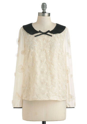 Applique Bouquet Top by Darling - Mid-length, Cream, Black, Floral, Bows, Peter Pan Collar, Formal, Holiday Party, Long Sleeve