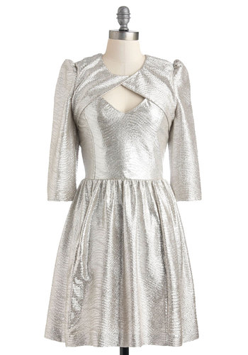 Plenty by Tracy Reese Once and Future Queen Dress by Plenty by Tracy Reese - Silver, Solid, Cutout, Luxe, A-line, 3/4 Sleeve, Party, Holiday Party, Mid-length, Pockets, Statement