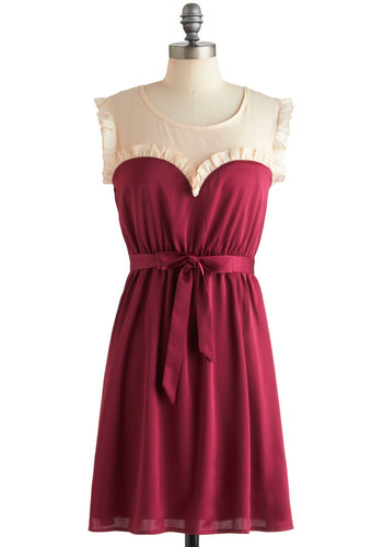 Ravishing in Raspberry Dress by Tulle Clothing - Ruffles, Party, Vintage Inspired, Shift, Sleeveless, Red, Tan / Cream, Belted, Holiday Party, Mid-length