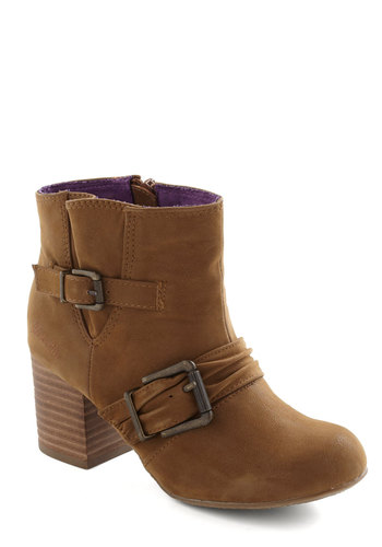 Any Excuse Bootie - Mid, Faux Leather, Buckles, Chunky heel, Brown, Casual, Fall, Holiday Sale
