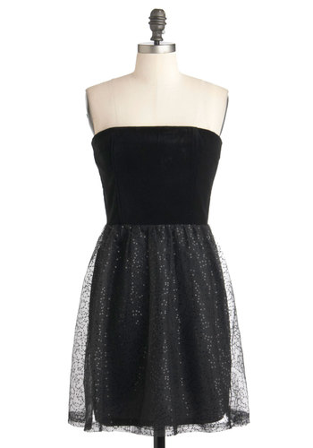 Waxing Elegant Dress by Jack by BB Dakota - Black, Sequins, Party, Ballerina / Tutu, Strapless, Mid-length, Solid, Holiday Party