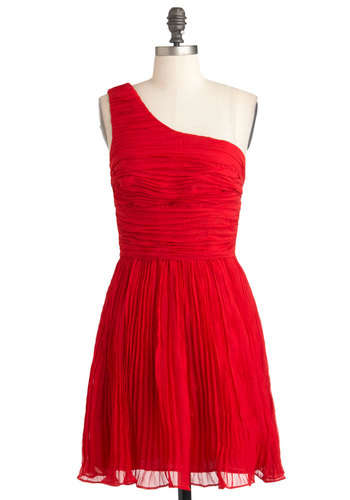 You're Rumba One Dress by BB Dakota - Mid-length, Red, Solid, Pleats, Ruching, Special Occasion, Wedding, A-line, One Shoulder, Holiday Party