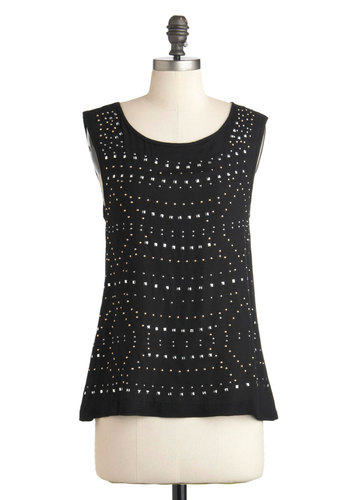 Constellation Connoisseur Top by Jack by BB Dakota - Mid-length, Black, Studs, Urban, Sleeveless
