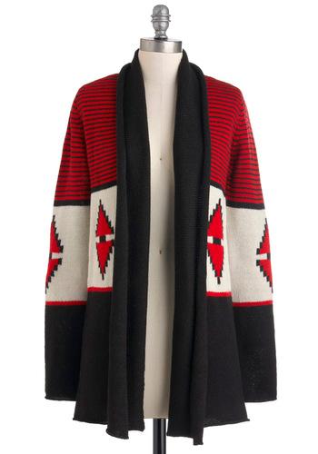 Spark Life Cardigan by BB Dakota - Red, Black, White, Long Sleeve, Fall, Long